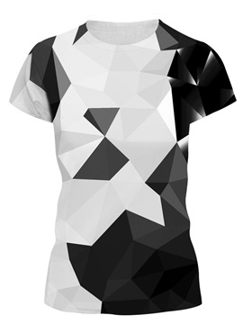 Monochrome Geometric Drawing 3D Painted T-Shirt