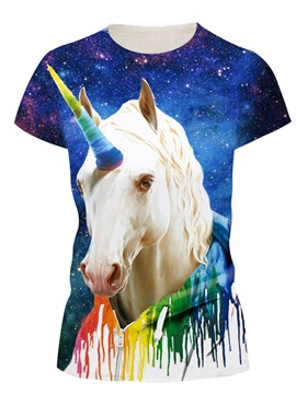 A Unicorn With A Colorful Horn Round Neck 3D Painted T-Shirt