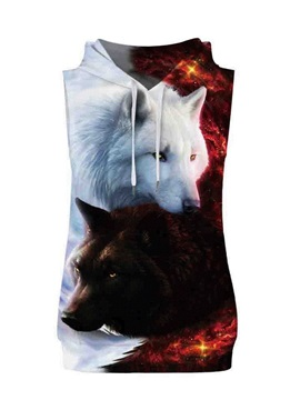 3D Lifelike Fox Sleeveless Pullover Hooded Men Fashion T-shirt