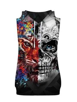 3D Lion&Skull Face Sleeveless Pullover Hooded Men Fashion T-shirt