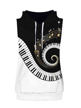 Piano Key Pattern Sleeveless Pullover Hooded Men Fashion T-shirt
