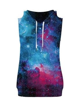 Vast Galaxy Sleeveless Pullover Hooded Men Fashion T-shirt