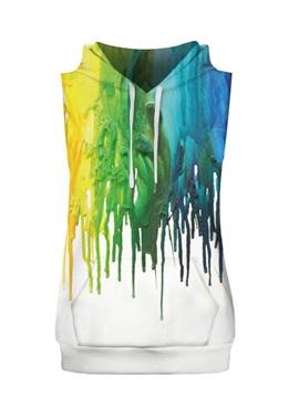Colorful Liquid Falling Sleeveless Pullover Hooded Men Fashion T-shirt