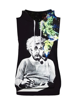 Einstein&His Tobacco Pipe Sleeveless Pullover Hooded Men Fashion T-shirt