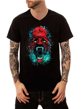 Screaming Skull Black V Neck 100% Cotton Summer Casual Men's Funny T-Shirts Top Tee Gift 3D Painted T-Shirt