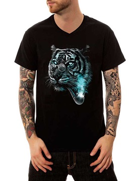 Men's V Neck Black Cotton Summer Tiger with Glasses Casual Funny T-Shirts Top Tee Gift 3D Painted T-Shirt