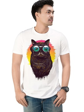 Mens Men's Funny Cotton Summer Animal Cat with Glasses Casual T-Shirts Round Neck Top Tee Gift 3D Painted T-Shirt