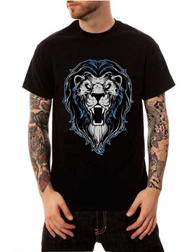 Men's Top Tee gift Cotton Summer Animal Lion Casual Black Funny T-Shirts Round Neck 3D Painted T-Shirt