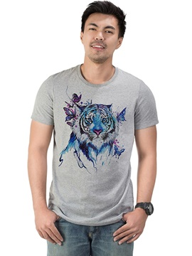 Hot Tiger and Butterflies Casual Men's Funny T-Shirts Cotton Round Neck Top Tee Gift 3D Painted T-Shirt