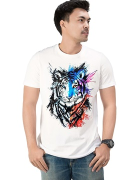 New Cotton Animal Tiger Casual Men's Funny T-Shirts Round Neck Top Tee 3D Painted T-Shirt