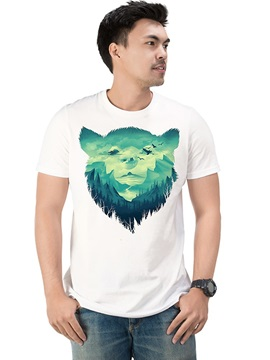 Animal Bear Fashion Casual Men's Funny 100% Cotton T-Shirts Round Neck Top Tee 3D Painted T-Shirt
