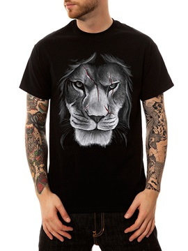 Black Casual Men's summer 100% Cotton Lion Funny T-Shirts Round Neck Top Tee 3D Painted T-Shirt