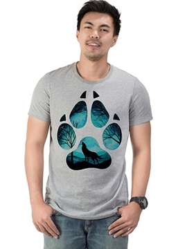 Men's Funny T-Shirts Cotton Footprint Casual Round Neck Top Tee Gift 3D Painted T-Shirt