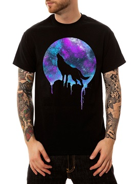 Summer Cotton Animal Wolf Casual Men's Mens Funny T-Shirts Round Neck Top Tee 3D Painted T-Shirt