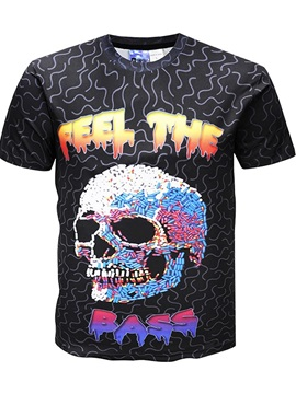 New Casual Skull Round Neck Men 3D Graphic Print Short Sleeve Tee T-Shirt