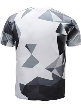 Men Fashion Geometric Round Neck 3D Graphic Print Short Sleeve Tee Tops T-Shirt