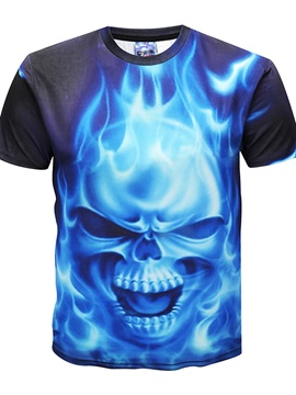 Burning Skull Men 3D Graphic Print Short Sleeve Tee Tops Round Neck T-Shirt