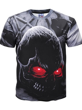 Graphic Skull Printing Round Neck Men 3D Short Sleeve Hot Tee Tops T-Shirt