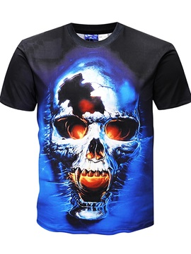 Casual Skull Short Sleeve Men Round Neck 3D Graphic Print Tee Tops Fashion T-Shirt