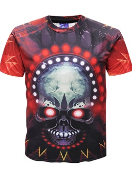 New Men 3D Graphic Skull Print Short Sleeve Round Neck Tee Tops T-Shirt