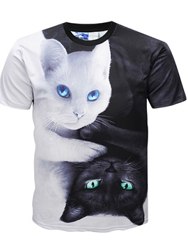 Men Casual 3D Cat Printed Short Sleeve Funny T-Shirts Round Neck Top Tee T-Shirt
