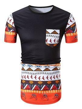 Retro Round Neck Cotton Blends Men Short Sleeve 3D T-Shirt