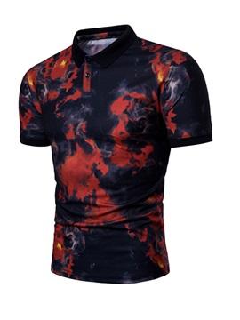 Polo Neck Cotton Blends Men Short Sleeve 3D T-Shirt
