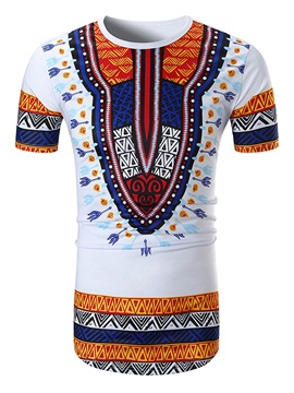 Retro Round Neck Men Short Sleeve 3D Tee T-Shirt