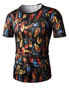 Feather Print Round Neck Cotton Men Short Sleeve 3D T-Shirt