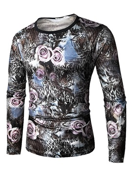 Rose Leopard Print Round Neck Cotton Men Short Sleeve 3D T-Shirt