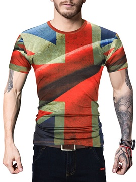 Plaid Round Neck Cotton Men Short Sleeve 3D T-Shirt