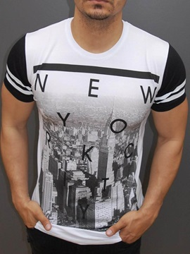 Round Neck Cotton Men Short Sleeve 3D New York T-Shirt