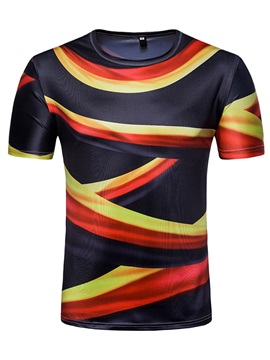 Round Neck Cotton Blends Striped Men Short Sleeve 3D T-Shirt