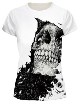 Skull Pattern Moderate Elasticity European Style 3D T-shirt