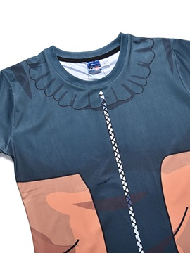 Polyester Material Cartoon Pattern Short Sleeve Moderate Elasticity T-shirt