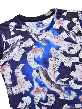 Dollars&Cats Pattern Polyester Material European Style Moderate Elasticity T-shirt