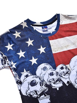 Skulls Pattern Straight Model Moderate Elasticity Polyester Material T-shirt