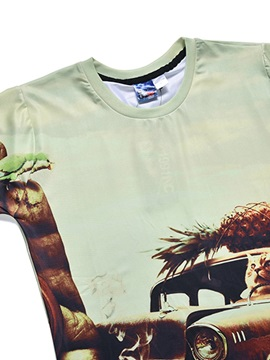 Car&Cat&Pineapple Pattern Polyester Material Moderate Elasticity T-shirt