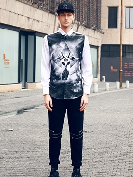Lightweight Loose Model Quick-Dry Polyester Lapel Neckline 3D Painted Shirt