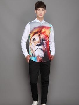 Printed Pattern Lightweight Lapel Neckline Loose Model 3D Painted Shirt