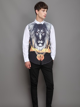 Quick-Dry Loose Model Lightweight Lapel Neckline 3D Painted Shirt
