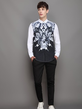 Vivid Color Cool Design Loose Model Long Sleeve 3D Painted Shirt