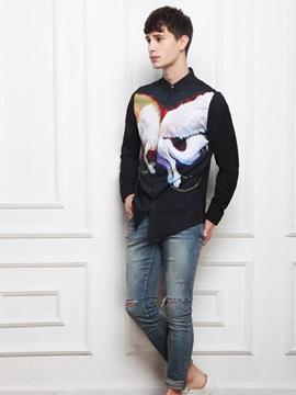 Vibrant Color Loose Model Casual Style Long Sleeve 3D Painted Shirt