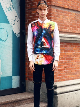 Lightweight Cool Printed Pattern Long Sleeve 3D Painted Shirt