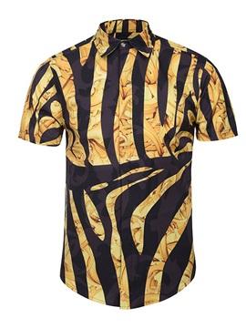 Lightweight Loose Model Lapel Neckline 3D Painted Shirt