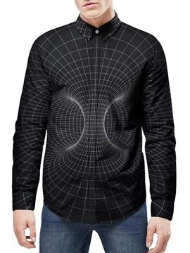 Lapel Neckline Long Sleeve Loose Model 3D Painted Shirt