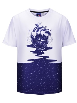 Straight Model Polyester Short Sleeve Summer T-Shirt