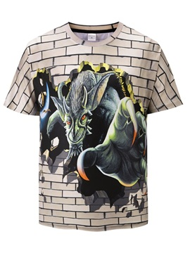 Short Sleeve Casual Style Polyester Straight Model 3D T-Shirt