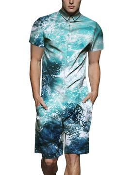 Casual Style Straight Model Short Sleeve 3D Painted Jumpsuits