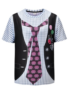 Round Neck Straight Model Short Sleeve Summer 3D T-Shirt